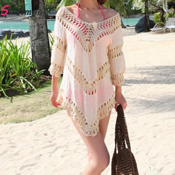 Sexy Hollow Out Beach Cover up Crochet Lace Swimwear Dress Bathing Suit Knitted Cover up Swimsuit Bathing Suit White Beachwear