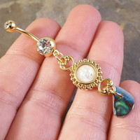 White Opal Gold Belly Button Jewelry Ring with Abalone Shell