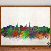 Las Vegas Skyline Watercolor, Nevada Print, USA City Painting, States Poster, Illustration Art Paint, Giclee Wall, Cityscape, Home Decor