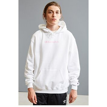 Champion autumn and winter tide brand men and women models wild printed letters loose hoodie white