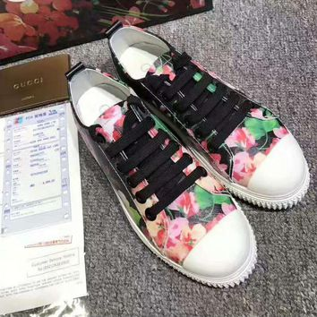 """""""GUCCI"""" Fashion Flats Sneakers Sport Shoes Print Red flower Red flower splicing black"""