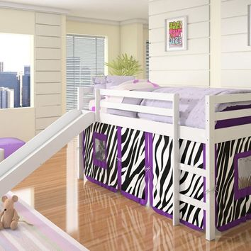 Alexis White Loft Bed with Slide and Purple Zebra Tent