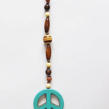 Turquoise Peace Sign Rear View Mirror Dangle     Suncatcher  Car Decor  Hemp