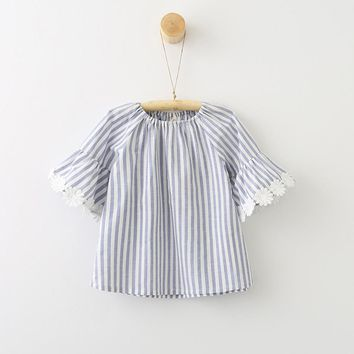 Striped Sunflower Flare Sleeve Dress