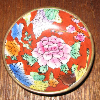 Chinese Peony Bowl Enamel on Brass vintage 60s Wall Decor Ring Holder Candy Dish