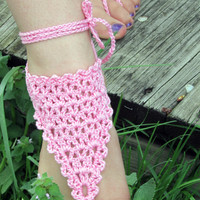 Barefoot Sandals, Crochet Beach Wedding Sandals, Bohemian Summer Sandals, Yoga, Foot Jewelry, Anklet, Pool, Pink