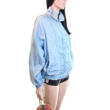 BLAIR vintage 80s windbreaker | vintage 90s windbreaker |  baby blue windbreaker | club kid jacket | kawaii jacket | oversized jacket s