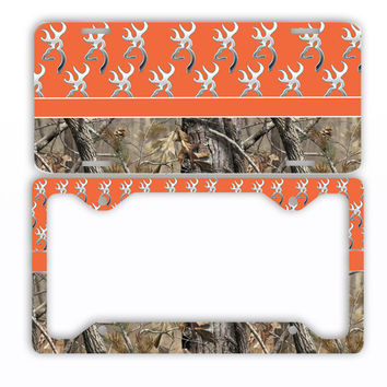 Orange Browning Camo License Plate Frame Car Tag Country Hunting