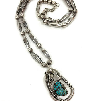 Navajo Sterling & Turquoise Pendant Necklace, Beaded Necklace, Turquoise Feather Pendant, Native American Jewelry, Southwestern, Vintage