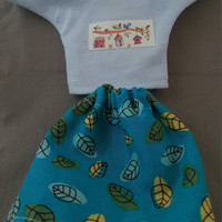 Blue leaf design elasticated skirt and blue tshirt with bird house motif for Tree Change and Bratz dolls