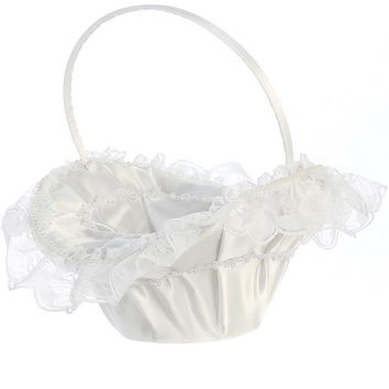 Lace Trim with Pearl Accents Flower Girl Basket   LT-FB8