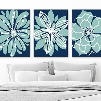 Flower Pictures, Navy Aqua Bedroom Decor, Navy Aqua Bathroom Wall Art, Flower Canvas or Prints, Flower Wall Art Decor, Set of 3 Pictures