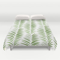 Herringbone Green Nature Pattern Duvet Cover by Maioriz Home