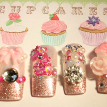 Press on Nails Kawaii Hime Gyaru Japanese Pink Sparkle Princess Nails