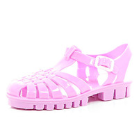 River Island Girls pink flat jelly sandals