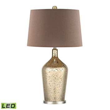 D355-LED Glass Bottle LED Table Lamp In Gold Antique Mercury Glass