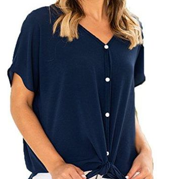 Halife Womens Button Down Short Sleeve Tie Front Knot Loose Knit T Shirt