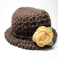Brown Crochet Cloche, Women's Hat With Flower, 1920's Style Flapper Hat, Chunky Knit Beanie, Winter Accessory
