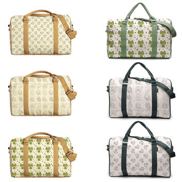 Cirle Animals Pattern Printed Oversized Canvas Duffle Luggage Travel Bag WAS_42