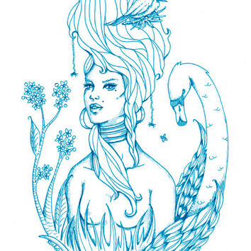Enchanted Forest - Mother Nature - Woodland Animals - Ethereal Illustration - Tattoo Art - Turquoise - Blue Print