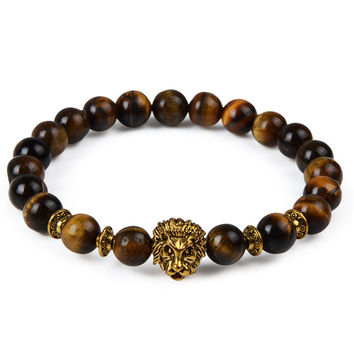 Gold Plated Lion Head Natural Stone Bracelet