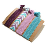 Elastic Hair Ties Purple and Blue Chevron Yoga Hair Bands