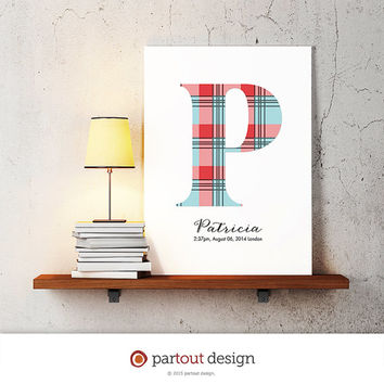 letter P baby nursery art monogram logo personalized gift baby name initial art print DIY printable letter nursery decor initial name art