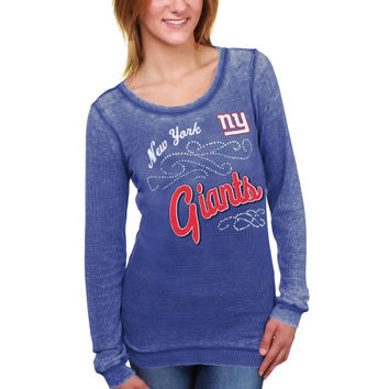 New York Giants Touch by Alyssa Milano Women's Blitz Burnout Thermal Long Sleeve Tri-Blend T-Shirt – Royal Blue