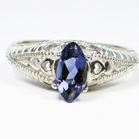 Iolite Marquis Filigree Ring Sterling Silver, Water Sapphire Ring, Sterling Iolite Ring, Sterling Marquis Ring, Filigree Ring, 925 Ring