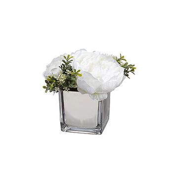 """White Fake Peony Flowers in Glass Vase - 6.5"""""""