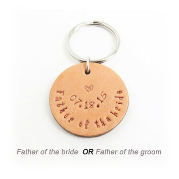 Personalized Father of the bride gift Father of the groom gift - Dad wedding gift leather keychain keyring - Wedding gift for dad