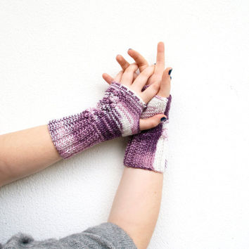 Purple Fingerless Gloves, Lilac and White ,Mittens, Handmade, Hand Knitted