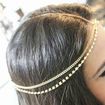 Gold chain & rhinestone headband
