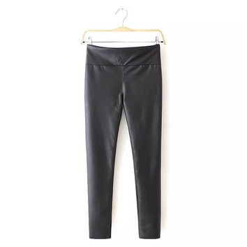 Black Faux Leather Stretchable Pants