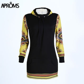 Autumn Fall Fashion Sweashirt Dress Women Dashiki Hoodie Casual Long Sleeve Side Zipper Hooded Tunic Dresses Long Jumper Top