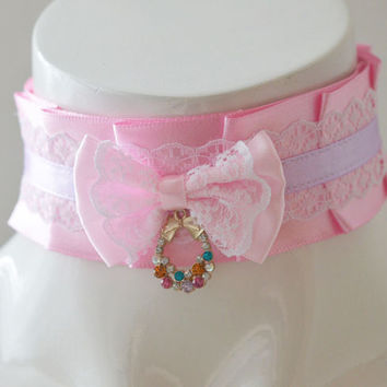 "11"" Kittenplay collar - Candice - ddlg little satin princess choker with big bow - kawaii cute fairy kei slim fit violet lilac and pink"