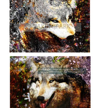 2 Piece Wolf Wall Art Set, Animal Room Decor, Wolves Wall Art Set, Nature Photo Prints, Wolf Art Set, Gift Idea, Wolves Artwork, Wall Decor