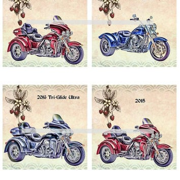 Harley Trike Motorcycles Altered Art - Coasters Artwork, 4.0 inch Squares, Arts and Craft Projects