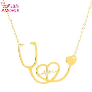 AMORUI Medical Stethoscope Chain Necklace Rose Gold Silver Pendant Necklace Collier Femme Heartbeat I Love You Necklaces Women