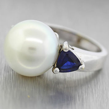 $7500 Solid 18K White Gold 13.5mm Natural South Sea Pearl Trillion Sapphire Ring