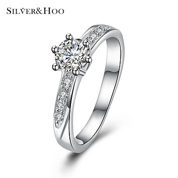 SILVERHOO 925 Sterling Silver Round Rings for Women Girls Luxury CZ Cubic Zircon Wedding Ring Fine Jewelry