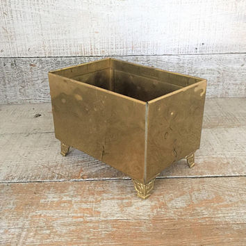 Planter Brass Planter Vintage Brass Bowl Footed Plant Pot Garden Container Brass Flower Pot Brass Outdoor Planter Mid Century Planter