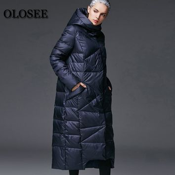 New Women's Winter Down Jackets Female Extra Long Hooded Down Coat High Quality Thick Warm White Duck Down Parka / UV1289