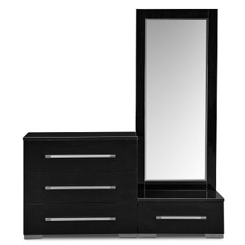 Dimora Black Bedroom Dressing Dresser & Mirror with Step