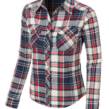 LE3NO Womens Slim Fit Long Sleeve Plaid Flannel Button Down Shirt