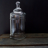 Vintage VintageLarge  Clear Glass Apothecary Jar, For Terrarium Creation, Supply Storage and Display, Glass Home Decor