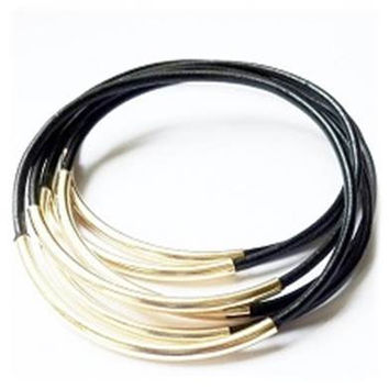 Black Leather Bangle Bracelets with Gold or Silver Tube Accents- By LEATHER WRAPS