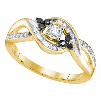 10kt Yellow Gold Womens Round Diamond Solitaire Black-accent Bridal Wedding Engagement Ring 1/3 Cttw