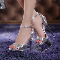 Silver Strappy Sandal Pumps Heels Nigjht Club Shoes