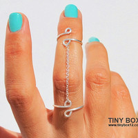 Chain Ring - New Knuckle Ring - Body Jewelry - Double Ring - 925 Silver Chain  Ring
